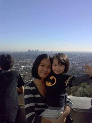 The Observatory in Los Angeles and back ground - down town Los Angeles.