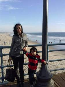 Khun Faridar and Declan in Santa Monica, California.